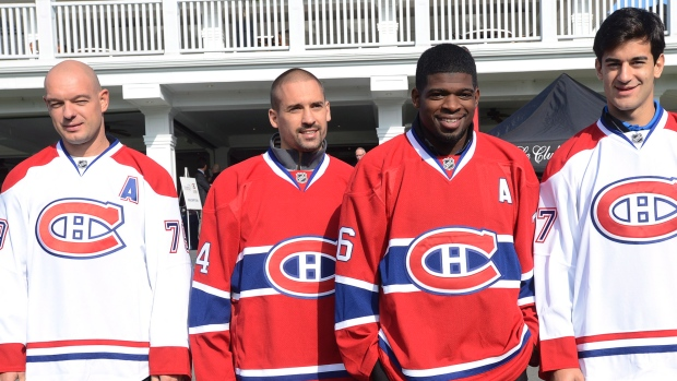 From left to right: Markov 79,  Plekanec 14,  Subban 76,  Pacioretty 67 			         Source: (Ryan Remiorz/Canadian Press)