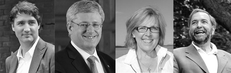 From Left To Right: Justin Trudeau, Stephen Harper, Elizabeth May, and Thomas Mulcair. Image Source: wikimedia.org